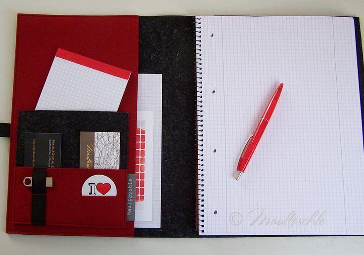 Schreibmappe A4 Organizer Wunschtext Collegeblock von Maultäschle auf DaWanda.com