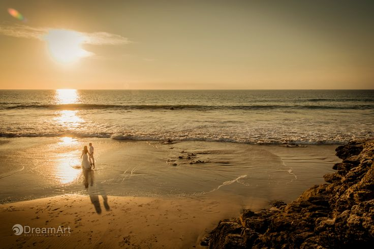 Colourful sunrise portrait of bride and groom by #DreamArtPhotography in Puerto Vallarta, Mexico.