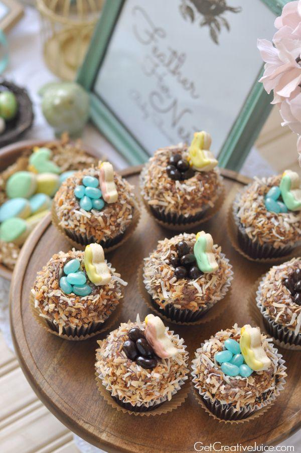 Feather Her Nest' Little Bird Baby Shower with Bird's Nest cupcakes