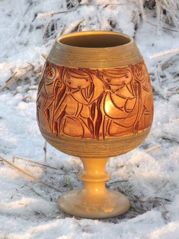 Vintage Goblet Italiaanse kunst aardewerk kelk door Fratelli