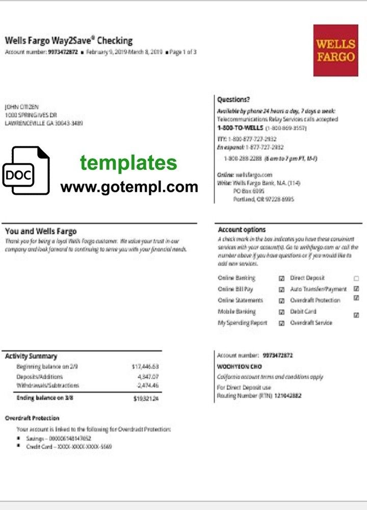Fully Editable Nbsp Usa Wells Fargo Bank Statement Template In Doc Format Nbsp High Quality Template Fonts Inclu In 2020 Statement Template Wells Fargo Bank Statement