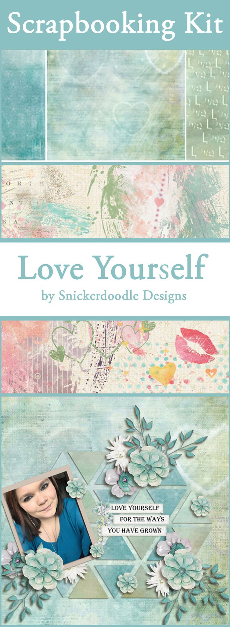 How to make scrapbook about yourself - Love Yourself Spring Digital Scrapbook Kit By Snickerdoodle Designs Cathy Chose The Perfect Photo For