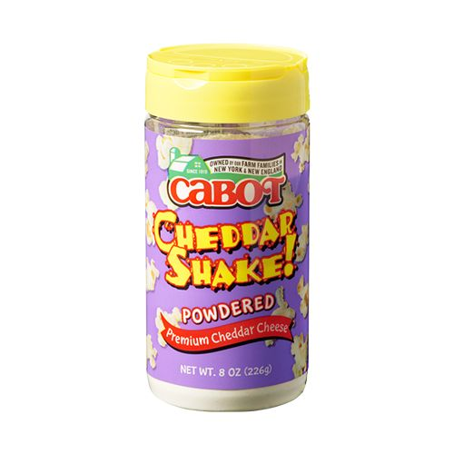 PRODUCT DESCRIPTION: Our Cheddar Powder is as convenient as it is delicious! Whether its pizza, pasta, beef, chicken, salad, or popcorn, real Cabot fans know that there is nothing that cant be improved with an 8-ounce bottle of Cabots Cheddar Powder.