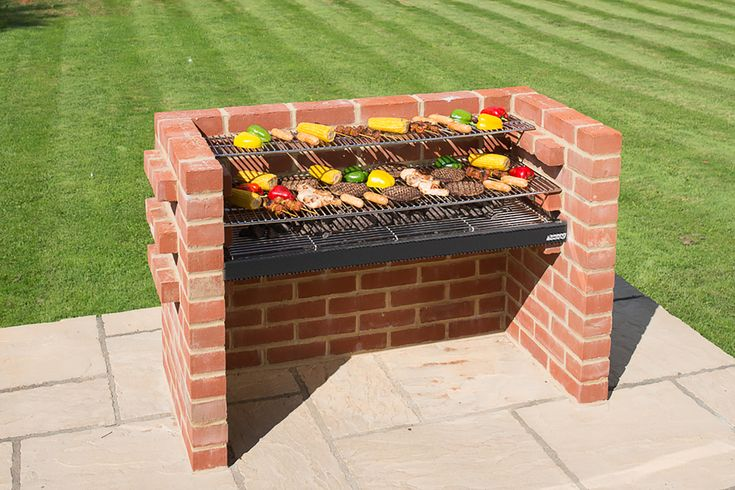 Home :: Extra Large Deluxe Brick DIY BBQ Kits - 112 x 39 cms (5 BRICKS WIDE) :: With Warming Rack BKB881