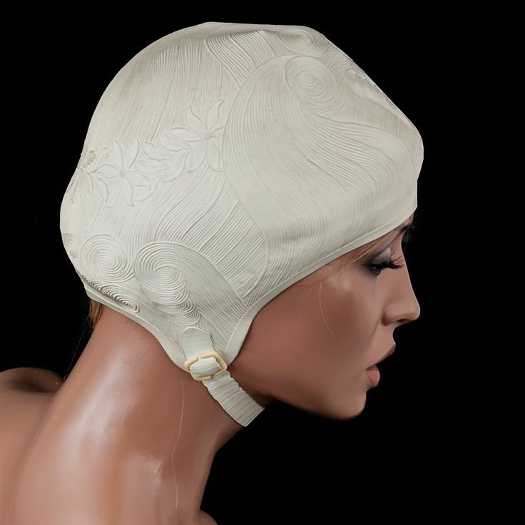 Vtg Swim Cap 1950s Sea Siren Ivory Floral Rubber Textured