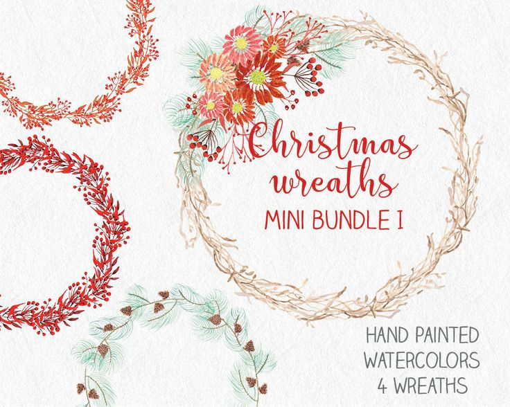 Watercolor Christmas wreaths: mini-bundle of 4 wreaths; hand painted berries and foliage; watercolor clip art; instant download by LollysLaneShoppe on Etsy