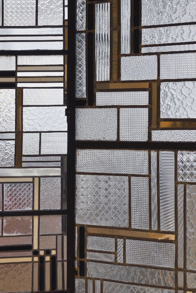 Detail of a 1930 screen made of glass, iron, lead and Bakelite by Louis Barillet and Jacques Le Chavallier