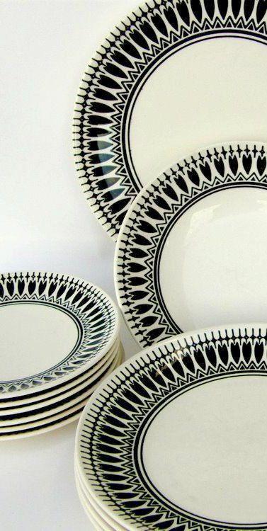 Black & White Vintage Dinnerware Set - Night Song by Royal China - Mid Century Drama