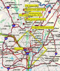 GPS Map of Washington DC Beltway Sniper shooting locations 2002