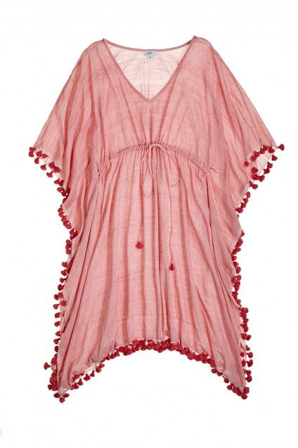 Tie Front Hand Woven Poncho in Red Chambray at calypso.