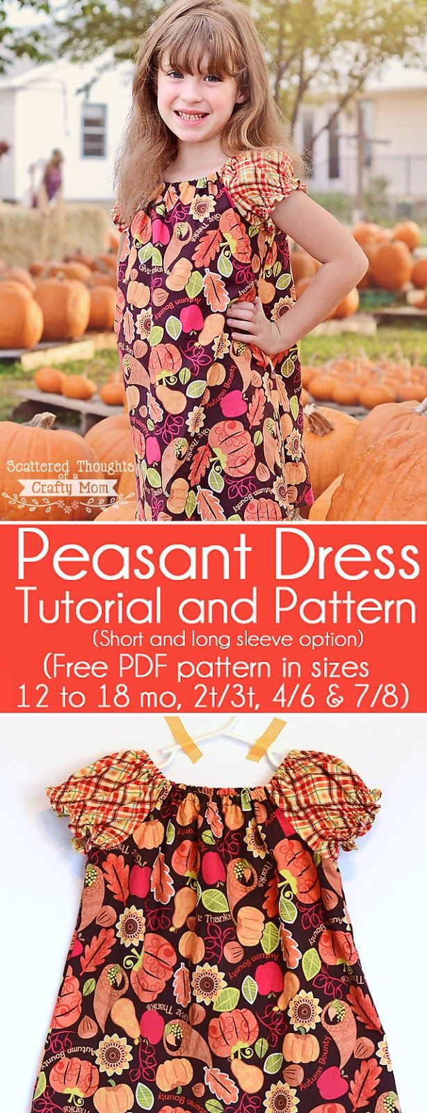Use this tutorial and free printable pdf pattern to learn how to make a simple peasant dress.  (Printable pattern available in sizes 12 months to 8.) (long and short sleeves.))