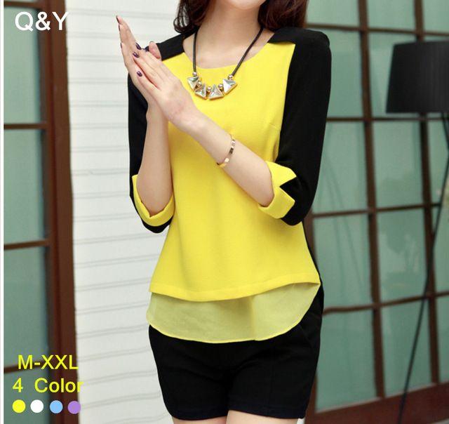 Mujer blusas de gasa Blusa Feminina Camisas casuales mujeres Camisas femeninas del o-cuello ocasional del remiendo gasa Shirt mujeres Tops