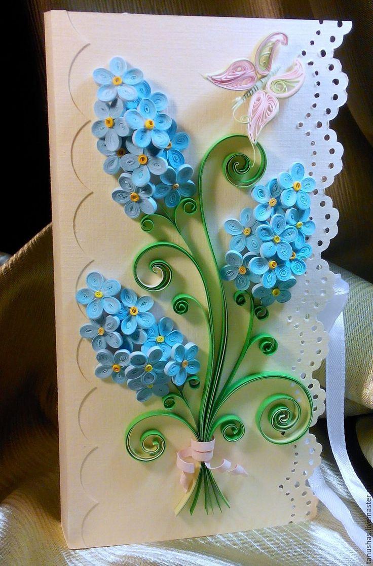 открытка из квиллинга на день рождения с цветами утром выпил там