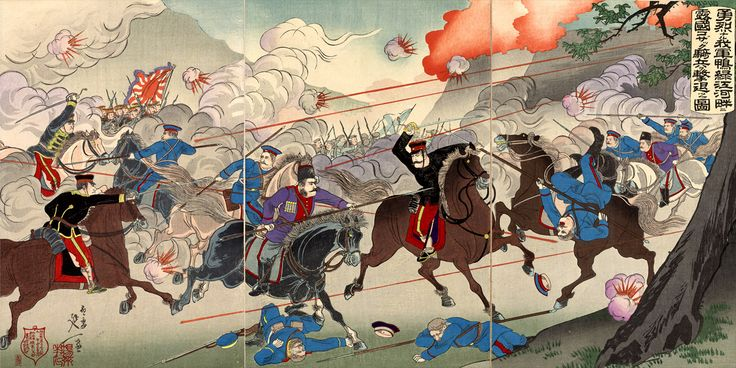 Russian cavalry attacking the japanese, Battle of Yalu River