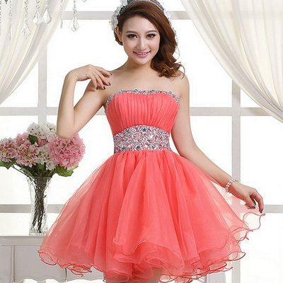 Coral homecoming dress,sexy homecoming dresses,tulle homecoming gown,beading party dress,short prom dress,sweet 16 dress