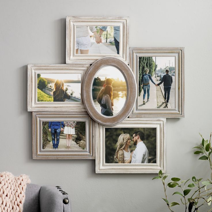 6 Opening Wood With Round Center Collage Frame
