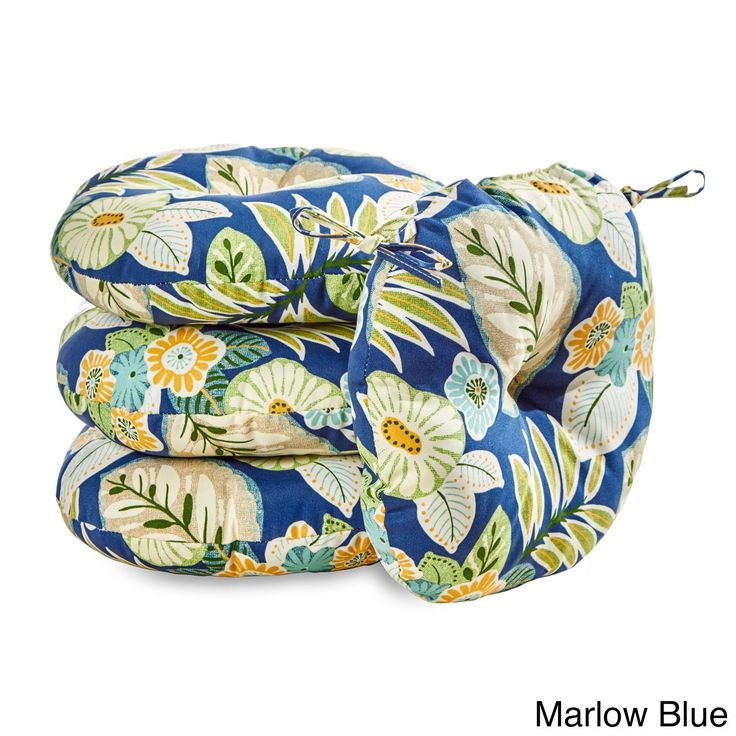 18 inch Outdoor Round Bistro Chair Cushion (Set of 4) (Marlow Blue Floral) (Polyester), Outdoor Cushion