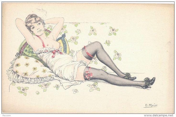 E.MEIER: Femme allongée avec cigarette [ érotisme seins demi-mondaine fumant prostitution ] AF006