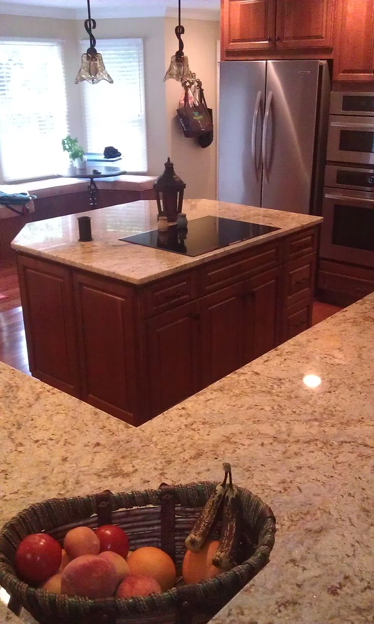 Kitchen Cabinet With Two Islands, Homecrest Cabinets, Jamison Door, Cherry  Wood, Autumn