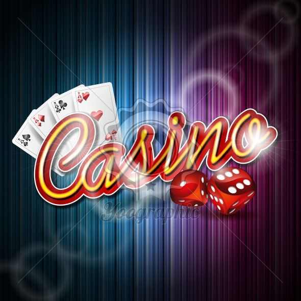 Vector illustration on a casino theme with poker card and dices on dark background. EPS 10 design - Royalty Free Vector Illustration