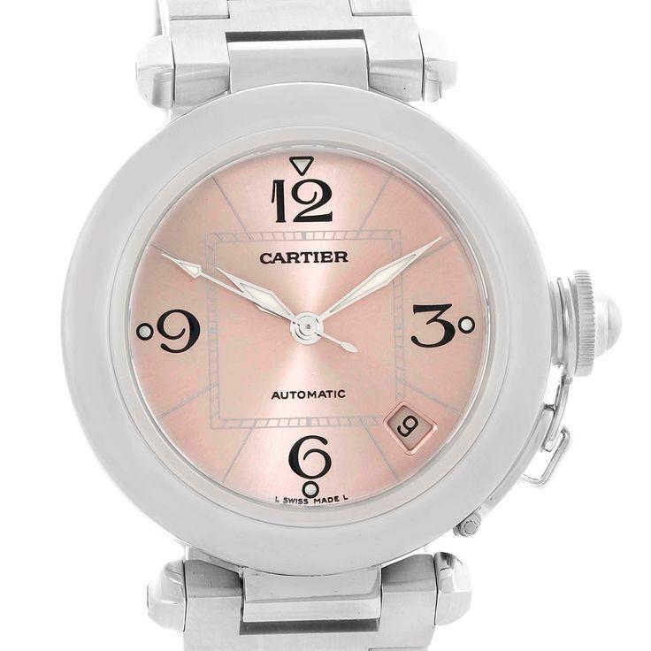 Cartier Pasha C Pink Dial Midsize Steel Ladies Watch W31075M7