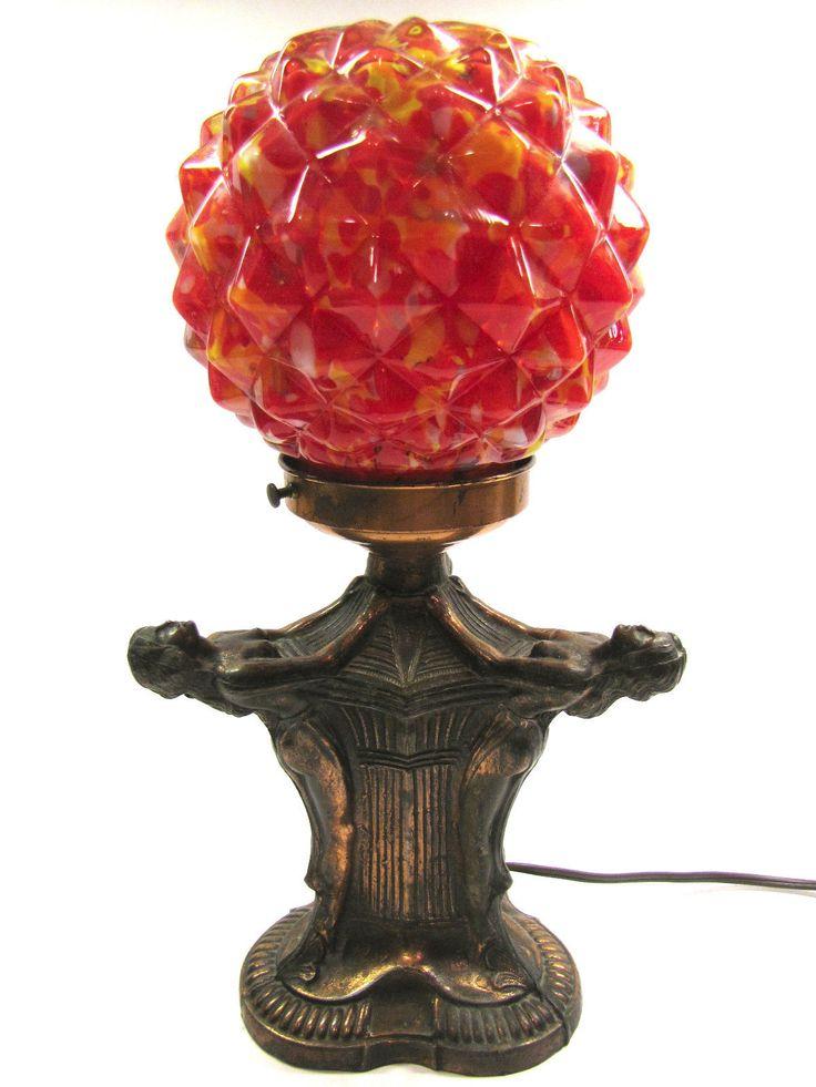 Vintage Art Deco Copper Tone Three Ladies Figural Lamp W