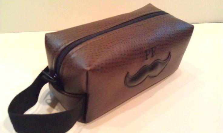 Personalized Groomsmen Gift Dark Brown Toiletry Bag Shaving Kit Mustache HANDMADE Wedding Party Groomsman Gift for Groomsmen. $40.00, via Etsy.