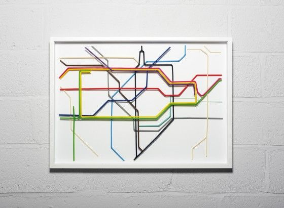 Zone One of the London Underground map made from drinking straws by Kyle Bean #line