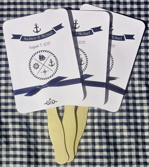 Wedding Hand Fans for a Nautical Wedding Theme by abbey and izzie designs