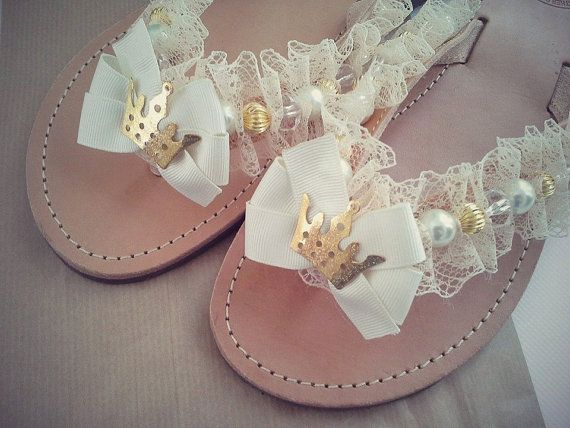 Sandals - Handmade Sandals, decorated with lace, pearls and gold crown