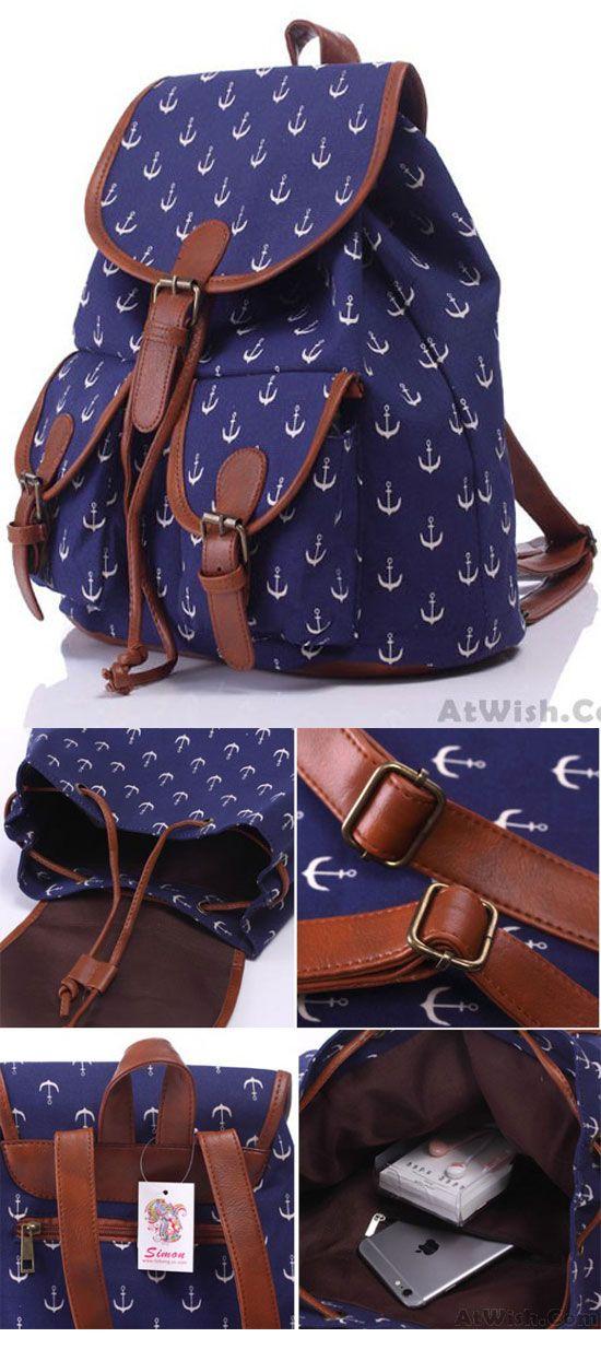 Leisure Navy Blue Anchor Rucksack Girl College Canvas Schoolbag Backpack for big sale! #anchor #backpack #Bag #school #rucksack