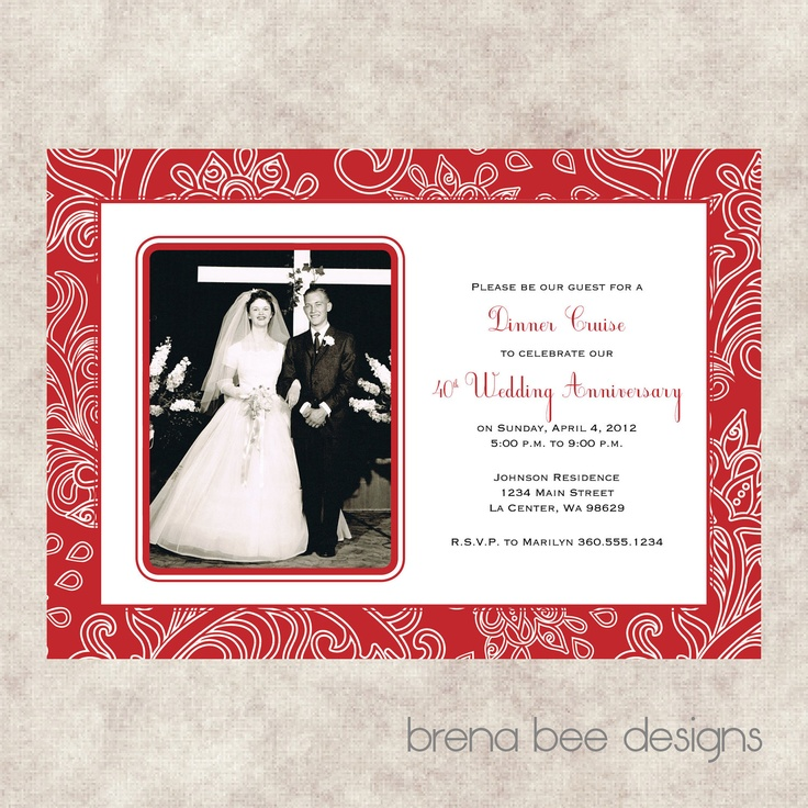 39 best anniversary invitations images on pinterest birthday 40th wedding anniversary invitation stopboris Image collections
