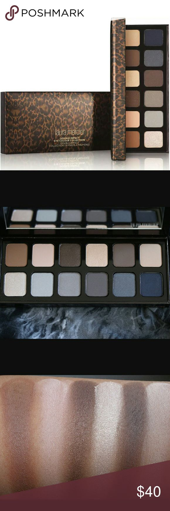 Laura Mercier Double Impact Eye Color Collection New in Box.  Never Been Used. Laura Mercier Double Impact Eye Color Collection The mirrored palette features 9 matte and 3 sateen shimmer eye shadow shades in a range from light to dark.  The versatile palette can take eyes from neutral day to sultry night.  Universally flattering, light reflecting sateen shimmer shadesadd dimension and enhance brightness. Laura Mercier Makeup Eyeshadow