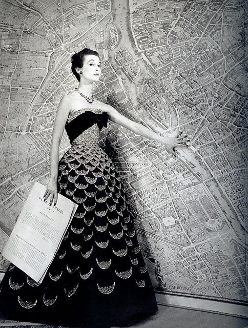 Mary Jane Russell in Dior for Harpers Bazaar, Oct. 1951