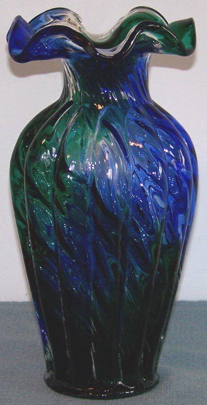 Fenton No. 6458 Spiral Optic Melon Vase HTF Blue and Green Colors    $120
