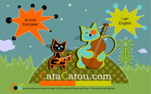Cata and Catou   two fully animated, singing, dancing, talking cartoon cats teach French and English.