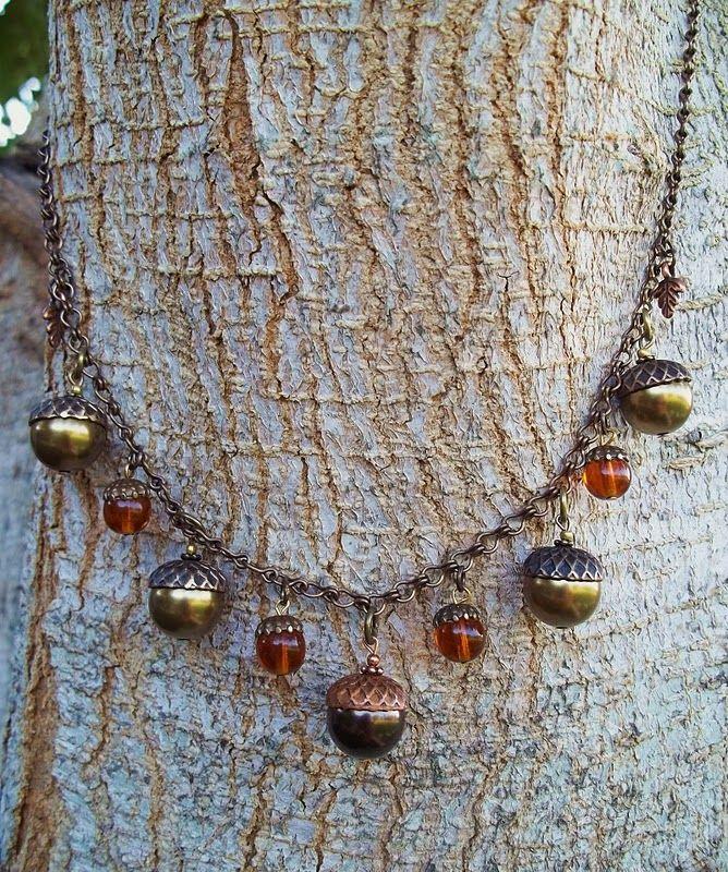 Fall acorn necklace similar to the j crew acorn bracelet for Acorn necklace craft