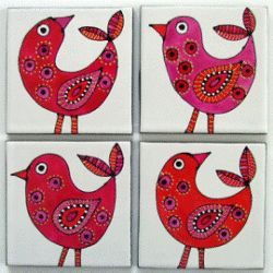 red and pink Bird coasters