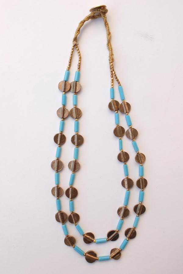 It's summer!  Tourquoise fine glass w/ golden brass (small spheres and coins). Two strands in one necklace.