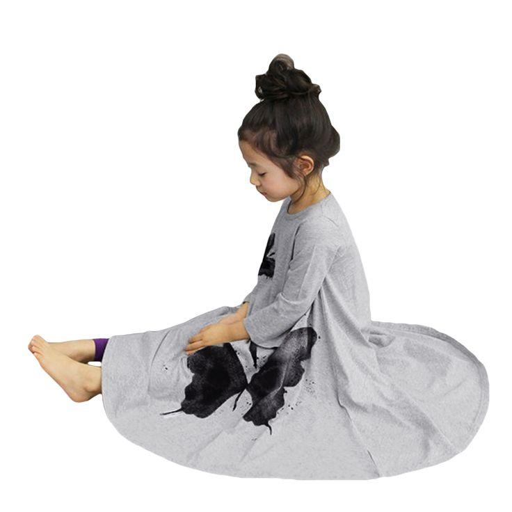 Девочка платье длинный рукав бабочка принт девочка одежда дети вспыхнул длинная платье осень зима дети одеждакупить в магазине Five Star Outlet наAliExpress