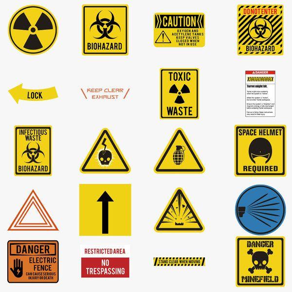 Warning Decals Pack Sticker Design Decals Texture
