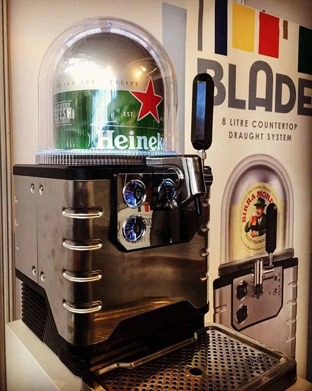 The definitely falls under the #want category. We caught a glimpse of The Blade at last week's The Casual Dining 2018 show. The product is a smaller draft machine that keeps 8 litres of beer fresh and chilled. @heineken #beer #horeca #draftbeer. . . . . . #drinks #partytime #happyhour #tradeshow #networkmarketing #business #london #businessdesigncentre #bars #restaurant #homedrinking