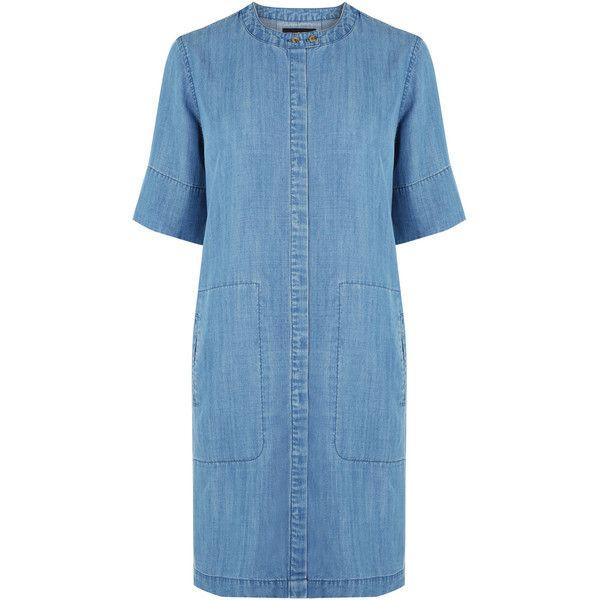 Warehouse Grandad Collar Shirt Dress ($64) ❤ liked on Polyvore featuring dresses, denim, denim shirt dress, blue denim dress, blue collared dress, warehouse dresses and button dress