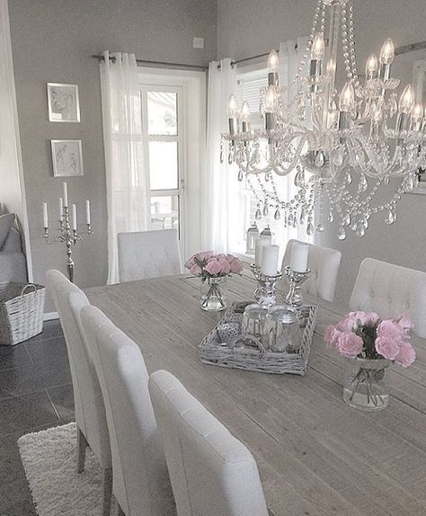 Beautiful Chandelier And Upholstered Chairs Add Major Points Of Glamour For This Dining Room Doesnt Show Very Bright