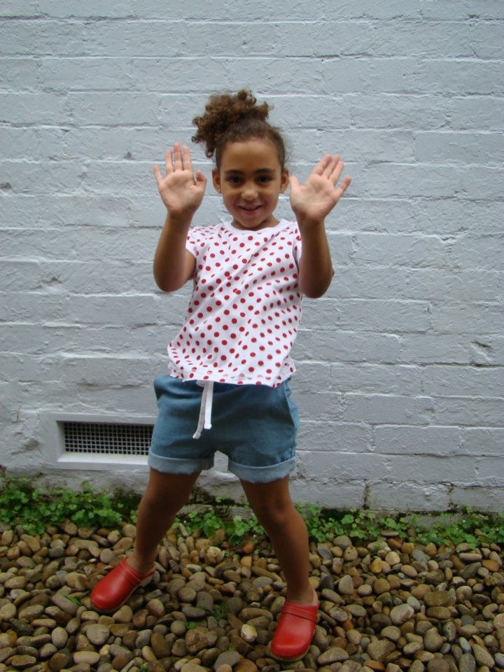 Tik e ta kids Summer Collection 2011: Barbara T-shirt (Scoop neck t-shirt) - red polka dot on white. Sizes 2-8    Joseph shorts - elastic waist shorts with pockets. Chambray denim. Sizes 2-8.