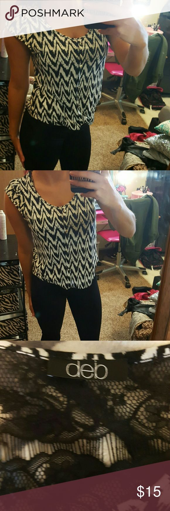 Cute Aztec blouse with lace back Cute debs Aztec blouse with a lace back , size medium,  in perfect conditon Deb Tops