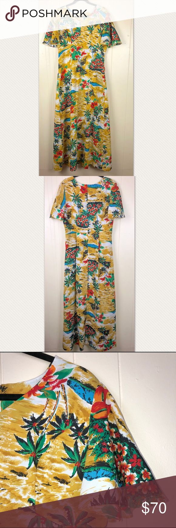 """Vintage Royal Hawaiian Floor Length Maxi Sz 14/16 ✿Size: 14/16 ✿Color: Golden, Red, Green ✿Design: Floor Length Maxi Dress ✿Neckline: V- Nec ✿Materials: Polyester Blend  Measurements(laying flat)(approximate) Length: 61.5"""" Underarm to underarm : 21.5"""" Waist: 17.5""""  Condition:Great used condition. No holes, stains or flaws. Royal Hawaiin Dresses Maxi"""