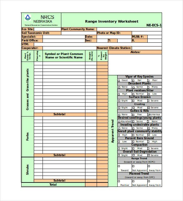 inventory worksheet excel template   inventory templates
