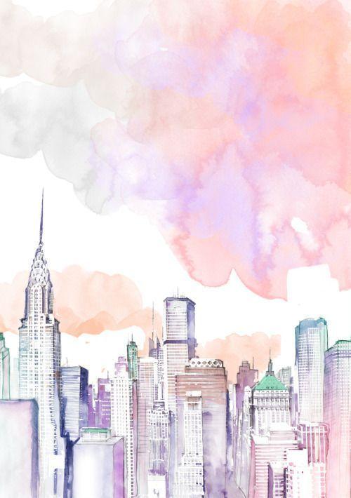 New York Skyline-Darstellung in Aquarell Mehr –