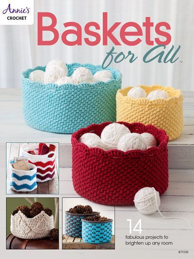 These baskets can be used to create handy storage units, decorations or thoughtful gifts. The 14 different shaped baskets are made using Dk-, medium- (holding 2 strands together) and Super Bulky-weight yarns.